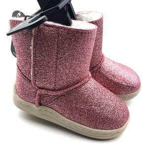 Size 4 baby boots girls shoes pink glitter winter